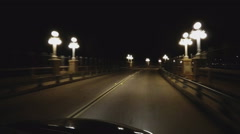 Fast Motion Driving Over Bridge With Old Fashioned Lamp Posts - Pasadena CA - stock footage