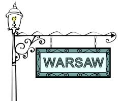 Warsaw retro pointer lamppost Stock Illustration