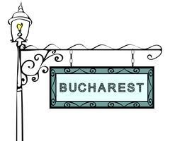 Bucharest retro pointer lamppost Stock Illustration