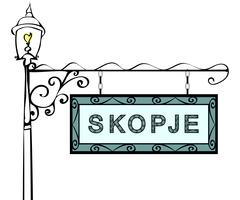 Skopje retro pointer lamppost Stock Illustration