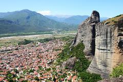 The view on Kalampaka town and Meteora, Greece Stock Photos