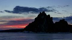 Sunrise over the island of Olkhon, Lake Baikal, Irkutsk region, Russia. Full HD Stock Footage