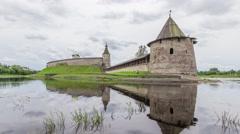 Pskov Kremlin and Ploskaya tower Stock Footage