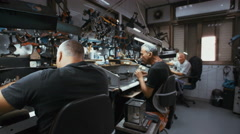 RAMAT GAN, ISRAEL, JULY 21 2016. Diamond polishers working Stock Footage
