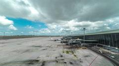 Planes preparing for boarding at Kuala Lumpur International Airport - KLIA. 4K Stock Footage