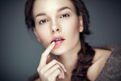 Fashion beauty portrait of brunette, flirt expression Stock Photos