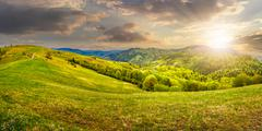 Idyllic view of Rural landscape in mountains at sunset Stock Photos