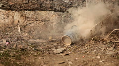 Smoke generator in use Stock Footage