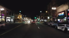 Point Of View Driving At Night Through Downtown Pasadena CA Stock Footage