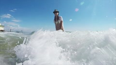 Beautiful Girl Achieving Dreams Tropical Beach Stock Footage