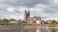 View on Cathedral from riverside in Magdeburg Stock Footage