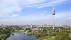 Time-lapse video of Olympic park in Munich Stock Footage