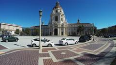 Pasadena CA Traffic Circle And City Hall Building Stock Footage