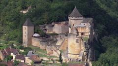 Castelnaud aerial Stock Footage