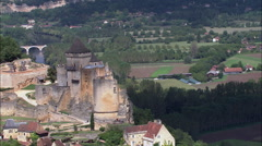 Castelnaud aerial Stock Footage
