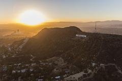 Hollywood Sign Sunset Aerial Kuvituskuvat