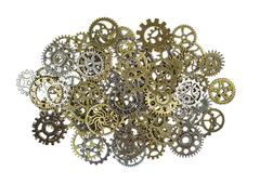 Pile of Brass and SIlver Gears Isolated on White Stock Photos