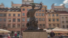 Warsaw's Mermaid - Hyper Lapse - Editorial ONLY - stock footage
