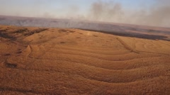 Barber County Fire - Aerial View Stock Footage