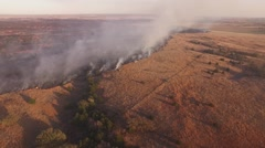 Barber County Fire - Aerial Slow Pan Stock Footage
