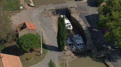 Canal Du Midi By Homps And Homps And Ognon Locks Stock Footage