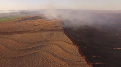 Barber County Fire - Aerial Wide Pan Across Stock Footage