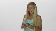 Blonde Female Model - Technology Use - Tablet computing - stock footage