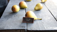 Healthy food text and Juicy flavorful pears Stock Footage