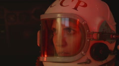 Attentive Female Cosmonaut Stock Footage