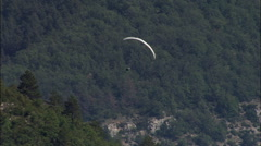 Paragliding At South End Of Gorges Du Tarn Stock Footage