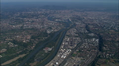 Approaching Lyon Up The The River Rhone Stock Footage