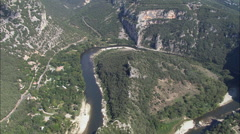Ardeche Flows Under Pont D'Arc Stock Footage