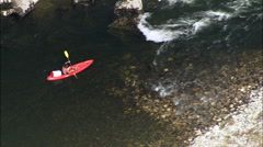Canoes Passing Rapids In Ardeche Gorge Stock Footage