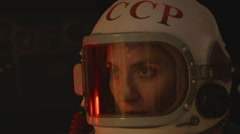 Russian Cosmonaut with Old Helmet - stock footage