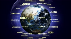 OLYMPIC GAMES SPORTS Texts Animation and Earth, Loop, 4k Stock Footage