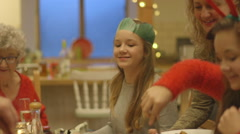 Busy Christmas Dinner Stock Footage