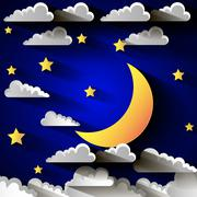 Moon and stars in the clouds. Stock Illustration
