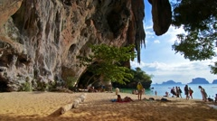 Railay, Thailand. Circa February 2016. Quiet beach with beautiful scenery in a Stock Footage