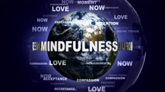 MINDFULNESS Text Animation and Earth, Loop, 4k Stock Footage