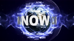 NOW Text Animation and Earth, Loop, 4k Stock Footage