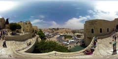 360VR timelapse video of people observing the The Western Wall - stock footage