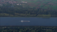 Barges On The Rhine Near Gerstheim Stock Footage