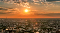 Perfect Skyline aerial of Berlin with beautiful sunset in summer at evening time Stock Footage