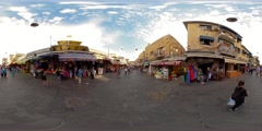 360VR timelapse video of people shopping at the Mahane Yehuda Market - stock footage