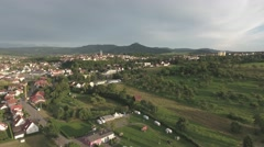 German castle on the hill - Aerial view from a distance Stock Footage