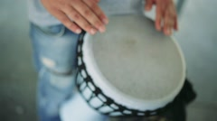 Man plays a drum Stock Footage