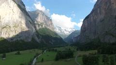 Lauterbrunnen valley Switzerland - Aerial Stock Footage