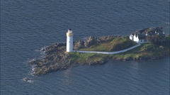 Ornsay Lighthouse In Closer Shot Stock Footage