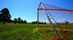 A goal and net on a green grass soccer field. - stock footage