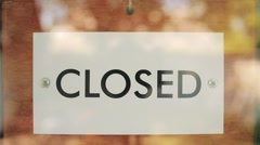 Wooden sign open closed Stock Footage